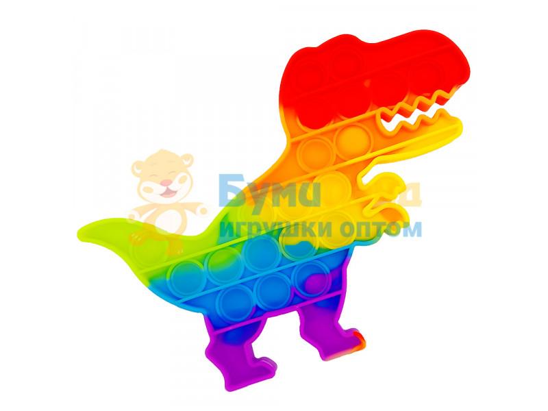 Сенсорная игрушка - антистресс Залипательные пузырьки Радужный Динозаврик