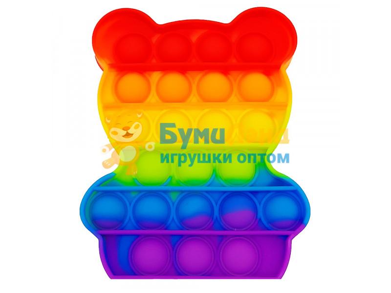 Сенсорная игрушка - антистресс Залипательные пузырьки Радужный Мишка