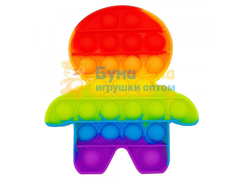 Сенсорная игрушка - антистресс Залипательные пузырьки Радужный Человечек