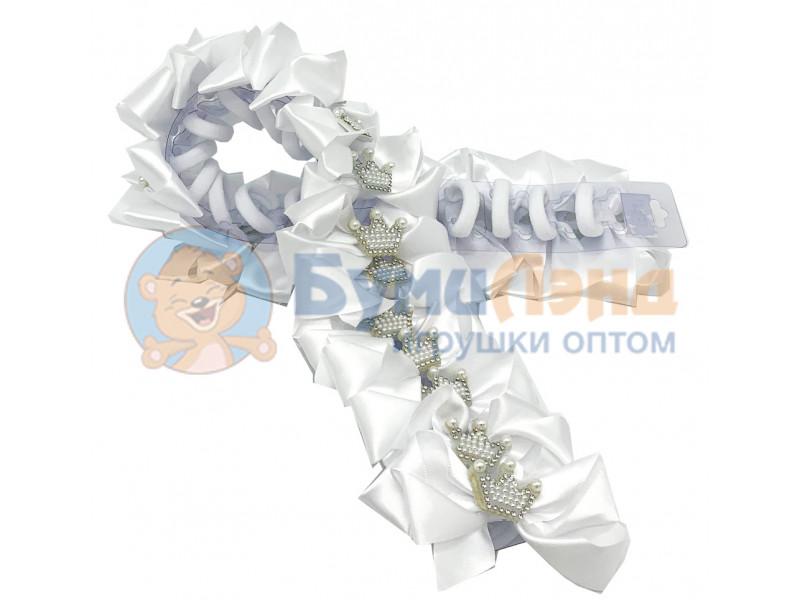 Белые бантики с короной, в ассортименте, 24 шт