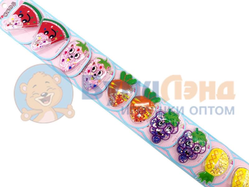 Набор детских заколок клик клак Фрукты с блёстками, 10 шт