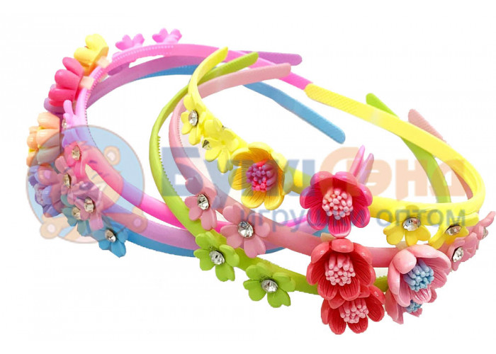 Детские ободки с цветами, 12 шт