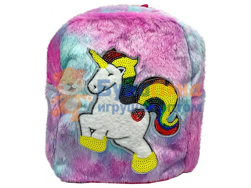 Меховой рюкзак с вышивкой единорог