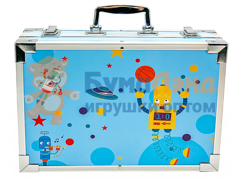 Набор для рисования в голубом металлическом кейсе, 145 деталей