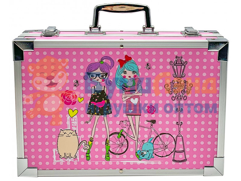 Набор для рисования в розовом металлическом кейсе, 145 деталей