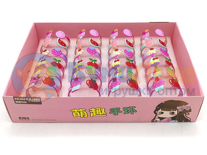 Детские браслетики в коробке Сладости, 24 шт