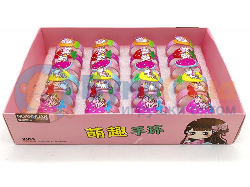 Детские браслетики в коробке Единороги, 24 шт