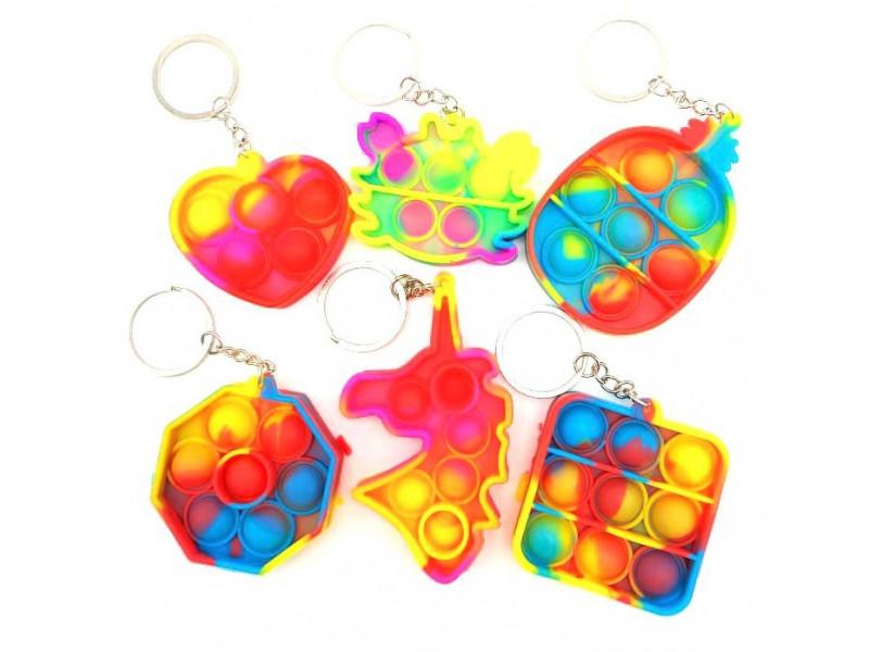 Брелок - антистресс Залипательные пузырьки color
